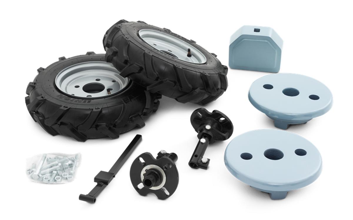 Set met rubberen wielen en gewichten